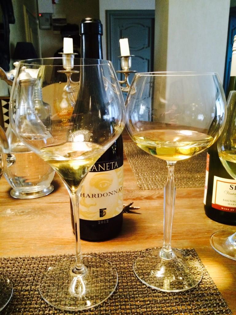 White Bordeaux glasses