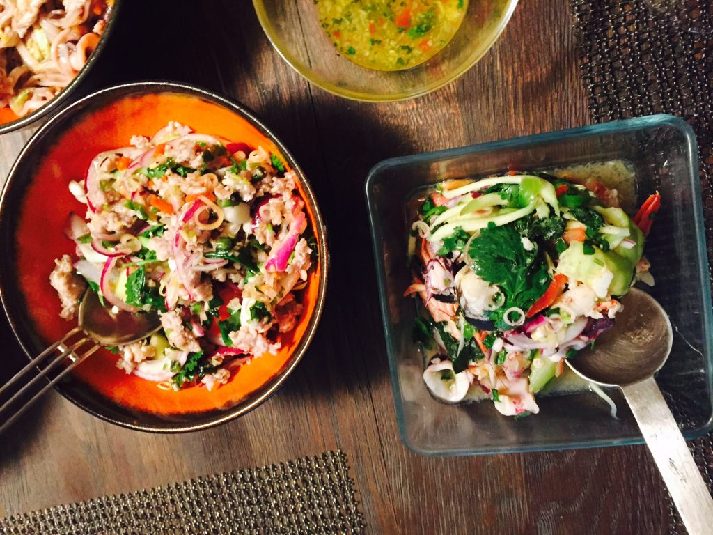 Chicken larb salad ans spicy seafood salad