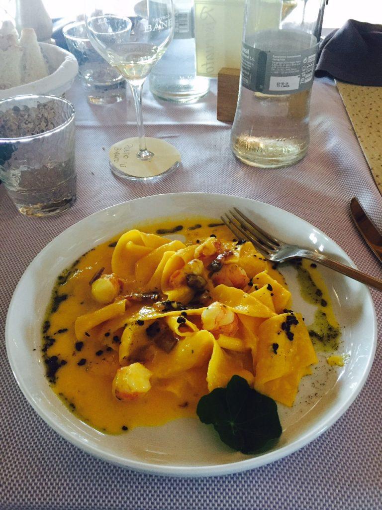 Pappardelle alla Carbonara at Boccon DiVino