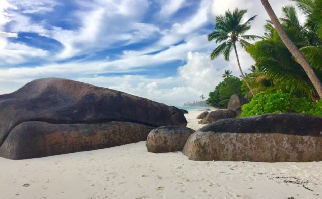 On the beach in Seychelles, Silhouette Island